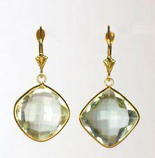 Green Amethyst Dangling Earring in 14k Yellow Gold