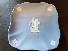 Vtg Wedgwood Blue Jasperware Small Square Plate