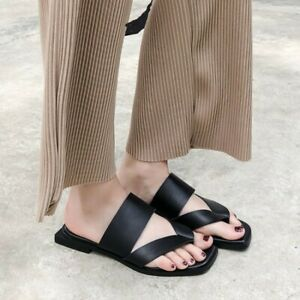 Summer Women Slippers Slides Flat Sandals Square Clip Toe Leather Casual Mules