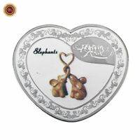 WR Silver Elephant Eternal Love Heart Shape Coin $1 Valentine Gifts for Wife