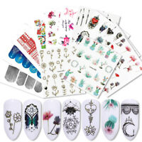 10 Sheets LEMOOC Nail Water Decals Transfer Stickers Flowers Butterfly Paper DIY