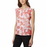 TAHARI ASL NEW Women's Floral Pleat-front Cap-sleeve Blouse Shirt Top XL TEDO