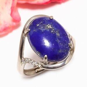 Lapis Lazuli & White Topaz White Rhodium Plated 925 Silver Solitare Ring Adst.