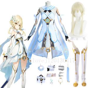 Genshin Impact Traveler Lumine Cosplay Halloween Costume Suit Women Anime Dress