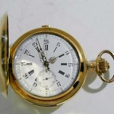 ANTIQUE QUARTER REPEATER & CHRONOGRAPH POCKET WATCH GENEVE MM 60 18 KT