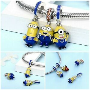 Sterling Silver, The Minions Charm Dangle with Colorful CZ & Enamel, Les Minions