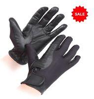 SALE £4.95 Shires Super Cool Riding Gloves Leather & Mesh Black Sz 7.5 - 8 (XL)