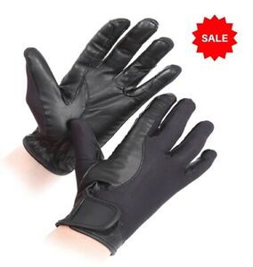 SALE £4.95 Shires Ladies Riding Gloves Leather & Mesh Black Sz 7.5 - 8 (XL)