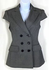 Women's Bcbg Max Azria Top Jacket XS Gray Double Breasted Herringbone Career