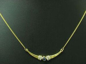 8kt 333 Yellow Gold Necklace with Diamond & 0,27ct Sapphire Trim/2,2g/42,0 CM