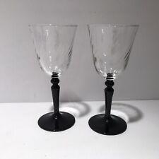 2 Crystal Swirl Wine Glasses Black Stems Holds 6oz France