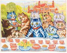 Cat Social Tea Party Louis Wain Painting Albert Hoffman Real Canvas Art Print