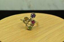 14K YELLOW GOLD SAPPHIRE RUBY & PERIDOT FOUR STONE COCKTAIL RING BAND SIZE 8.25