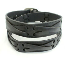 Black Leather Belt Criss-Cross Straps Unisex Size Large Rock Punk Emo Biker