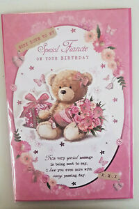 FIANCEE BIRTHDAY CARD FOR HER LUXURIOUS 8 PAGES WITH STUNNING WORDS & PICTURES