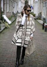 ZARA Beige Mink Aztec Navajo Blanket Poncho Cape Coat Jacket Medium One Size