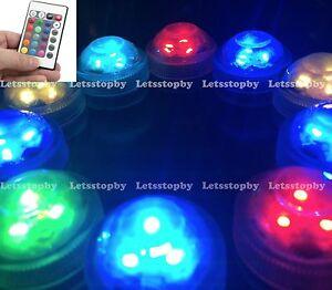 10 pcs LED RGB Submersible w/ Remote Vase Floral Wedding Party Decoration Lights