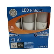 3 Pack Ge Led Bright Stik 60w 10w Soft White Bulbs non dimmable 760 lumens 79368