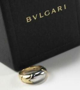 BVLGARI BULGARI TRONCHETTO 18K YELLOW WHITE GOLD BAND RING SIZE 6/T53/UK-M