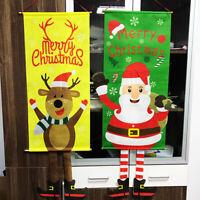 Merry Christmas Xmas Door Window Hanging Decor Ornaments Santa Claus Banner Flag