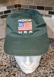 Rock USA Rock And Roll Hall Of Fame Cleveland Ohio Green Adjustable Hat