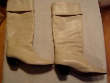 Vintage 70's Womens Knee High White Ice Leather Boots Sz 71/2 N By Andrew Gelle