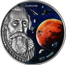 BURKINA FASO 2017 1 Oz Silver JOHANNES KEPLER, 3 Martian Meteorites Coin.