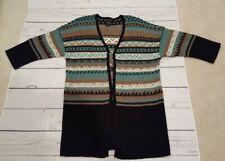 Nomadic Traders Long Coat Fair Isle Cardigan Sweater Small Mint