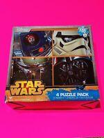 *NEW* Star Wars 4 puzzle pack Boba Fett R2D2 Princess Leia Darth Vader - Disney
