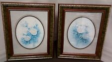 """Home Interiors """"White Rose Boquet with Blue"""" Framed Print; Wyona Newton"""