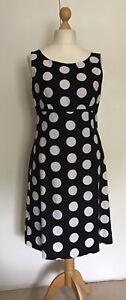 Laura Ashley Black & White Spot Cotton And Linen Dress Size 14 Good Condition