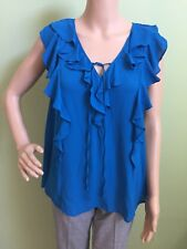 WORTHINGTON Women's Crepe Blue Ruffled Sleeveless Drawstring Top Medium M 8/10
