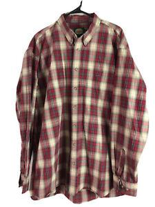 Vtg Cabelas Button Down Shirt Mens XLT Red Brown Plaid Long Sleeve Cotton Euc