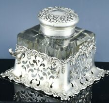 SUPERB1899 AMERICAN GORHAM REPOUSSE STERLING SILVER CUT GLASS INKWELL PEN STAND