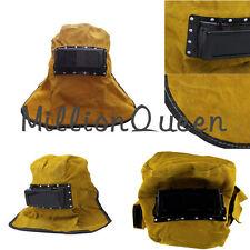 Face Neck Protected Hood Helmet Mask Overhead Lens Glasses Leather Welding Work
