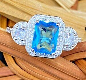 925 SILVER CREATED SWISS BLUE FLAWLESS CUSHION ZIRCON ENGAGEMENT WEDDING RING 7