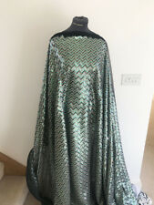 Chevron Zig Zag Iridescent Sequin Turquoise/Bronze On Mesh Dress Fabric  1.1mts