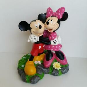 "Disney 11.5"" Mickey Mouse & Minnie Hugging Resin Garden Statue Figure Outdoor"