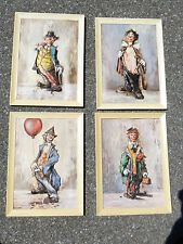 Vintage FOUR CLOWN Pictures Paintings MADE IN ITALY Wall Hanging Decor