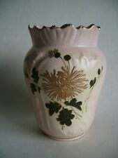 Antique Victorian Ceramic Blush Vase With Gold Flower Decoration