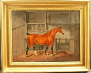 LARGE 19th CENTURY CHESTNUT HORSE IN STABLE PORTRAIT Antique Oil Painting