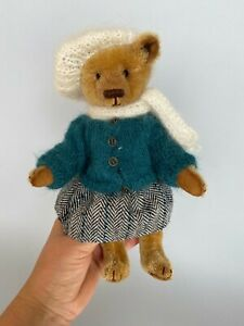 Artist Teddy Bear Doll ,OOAK Collectors Toy, Bear Girl in Outfit