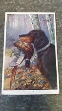 AK Jagd Jahgdhund Beute Vogel Wald Weg Kunstkarte  Postkarte 11948