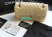 CHANEL MATELASSE METALLIC LIMITED EDITION FLAP BAG CARD BOX DUST BAG GOLD MINT