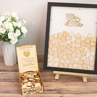 1pc Wooden Rustic Wedding Wish Box Guest Book Heart Drop In Box Wood