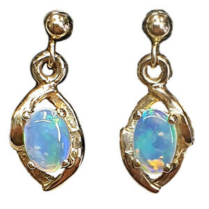 14KT YELLOW GOLD DROP EARRINGS WITH NATURAL SOLID AUSTRALIAN OPAL