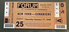 2004 MONTREAL CANADIENS New York Rangers Special Commemorative Ticket 1945