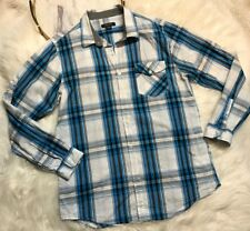 Structure Modern Fit Mens Long Sleeves Button Front Shirt Size L Plaid