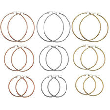 Womens Fashion Gold Silver Stainless Steel Big Round Circle Dangle Hoop Earrings