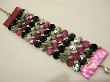 """Vintage Purple silver grey black shell linked Chainmail cuff 1.5"""" wide bracelet"""